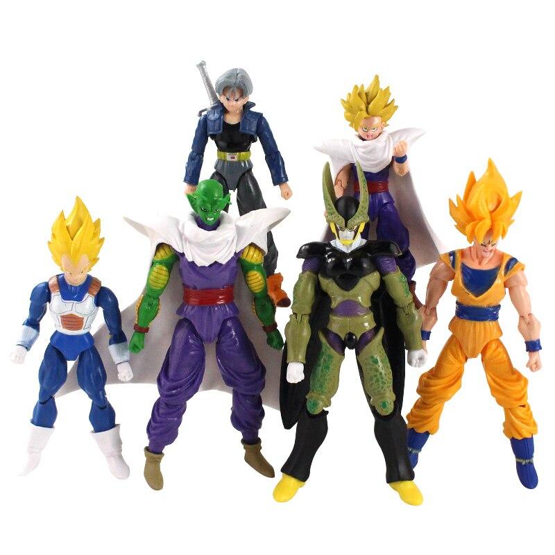 6Pcs/Set Vegeta Piccolo Son Gohan Son Goku Trunks PVC Action Figures Toys Joint Movable Figure 13~15cm